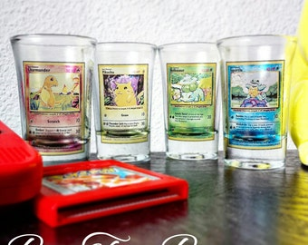 Original Starter Pokémon Trading Card Shot Glasses   Charamanders   Pikachu   Bulbasaur   Squirtle