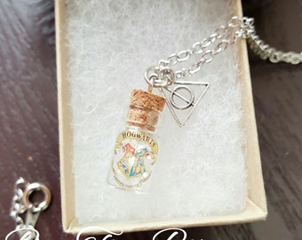 Harry Potter | Hogwarts | Vial Necklace | Deathly Hallow Charm | Gifts for her