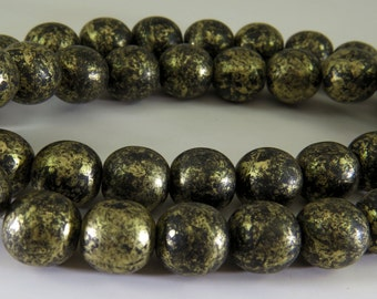 14mm Czech Black Gold Glaze Round Druk Pressed Opaque Glass 6 Beads PPRDRUK1400