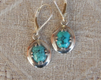 Turquoise Earrings, Turquoise & Sterling Silver Earrings, Arizona Turquoise Shield Earrings, Turquoise and Sterling Earrings, Turquoise