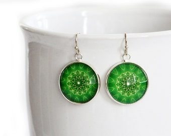 Green - Glass Dangle Earrings