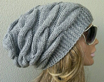 Slouchy Beanie Slouch Hat Hand Knit Winter Adult Teen Wool Choose Color Grey Chunky Christmas Gift