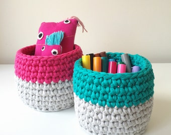 Nursery storage basket set, small storage basket, pen pot, office tidy, stationary organiser, makeup storage, kids room storage