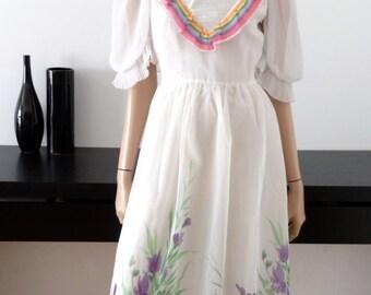 vtg white bohemian dress size 10
