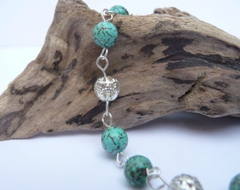 Turquoise and Silver Filigree Bracelet