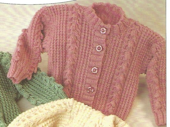 Knitting Pattern Babies/Childrens Aran/Fisherman/12 Ply 4 Designs Cable ...