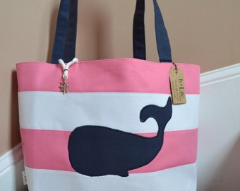Whale Canvas Bag, Nautical Canvas Handbag with Navy Whale, Pink and White Stripes, Lining and Charm, Canvas Tote