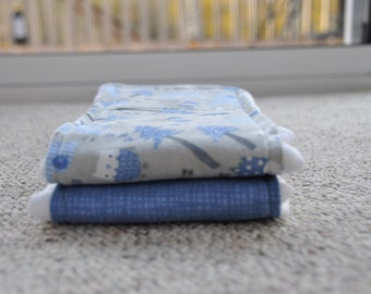 Baby Burp Cloths - Set of 2 - Blue and Grey
