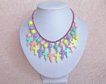 Pastel Cross Beads Necklace