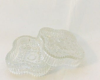 Vintage Clear Glass Trinket Dish Marked Italy, Crystal Star Shaped Jewelry Box, Lidded Ring Box, Vanity Dish