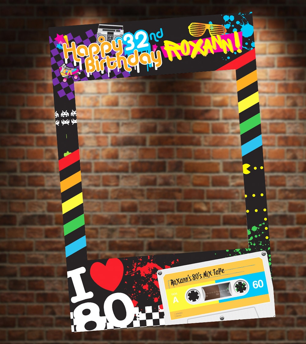 80 39 s theme photo booth party prop frame digital file for Decoration annee 80