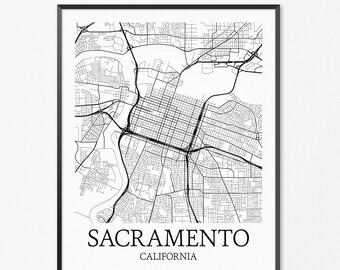 Sacramento Map Art Print, Sacramento Poster Map of Sacramento Decor, Sacramento City Map Art, Sacramento Gift, Sacramento Art Poster