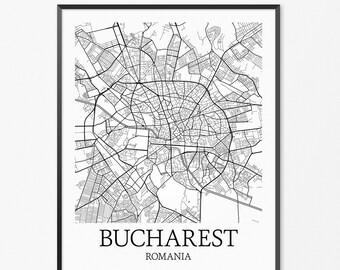 Bucharest Map Art Print, Bucharest Poster Map of Bucharest Decor, Bucharest City Map Art, Bucharest Gift, Bucharest Romania Art Poster