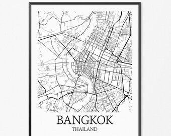 Bangkok Map Art Print, Bangkok Poster Map of Bangkok Decor, Bangkok Map Art, Bangkok Gift, Bangkok Thailand Art Poster