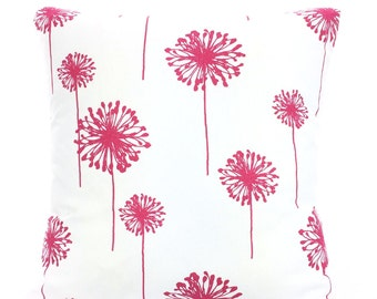 Pink Dandelion Pillow Covers, Cushions, Hot Pink White Dandelion, Couch Throw Pillow, Bed Cushions, Throw Pillows, One or More All Sizes