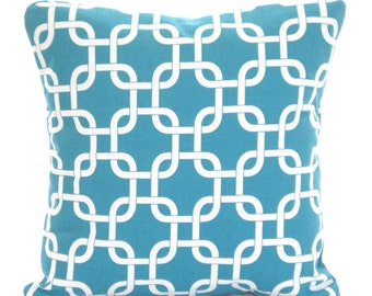 Turquoise Pillow Covers, Decorative Throw Pillows, Cushions, True Turquoise White Chain Link Gotcha, Aqua, Couch, One or More All Sizes
