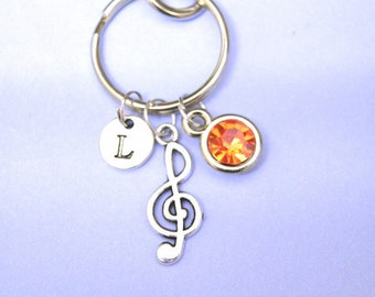 musician gift, musical note keyring, keychain for singer, personalized music note, love music, music keyring, music note charm, charm key