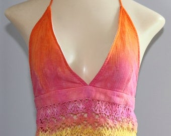 Large Tie Dye Orange / Pink / Yellow Ombre Crochet Crop Halter Top
