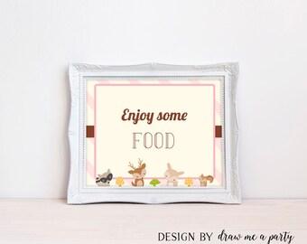 Woodland Food Sign , Girl Baby Shower , Enjoy Some Food Sign , Food Table Sign , Printable , Instant Download