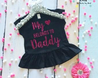 Toddler Girl's Shirt. Toddler T-Shirt. Daddy Shirt. My Heart Belongs To Daddy Shirt. Father's Day Shirt. Daddy's Girl Shirt.