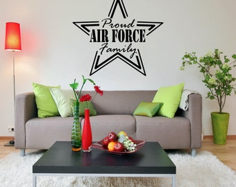 Wall Decal - Proud Air Force Family - Home Wall Decal Vinyl Lettering HD104
