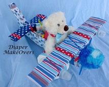 Boy Diaper Cake - Unique Baby Shower Gift - Shower Centerpiece - Airplane Diaper Cake - Unique Boy Diaper Cake