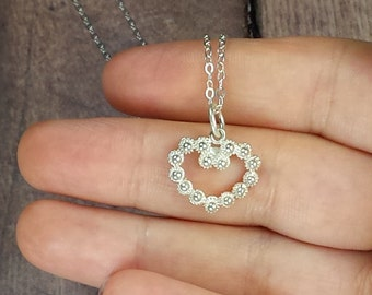 Gift For Her, Heart Necklace, Silver Heart Charm Pendant, 925 Sterling Silver, Silver Heart Necklace, Delicate Chain Necklace, Heart Charm