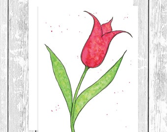 "NOTECARD: Whimsical Red Tulip; Red Flower 4.25"" x 5.5"" A2 Greeting Card, Gift for Her, Gift for Friend, Gift for Mom, Gift for Flower Lover"