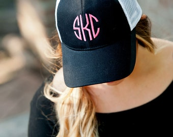 Black Monogrammed Trucker Hat - Black Trucker Hat For Women - Custom Trucker Hat - Trucker Cap - Personalized Trucker Hat - Hats for Women