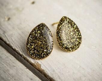 Post earrings, drop earrings, stud earrings, resin earrings, black and gold earrings, everyday earrings, gift under 50.