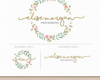 Photography Logo Branding Set | Logo, Secondary Alternate Designs | Watercolor wreath leaves flowers | DIY Photoshop Template