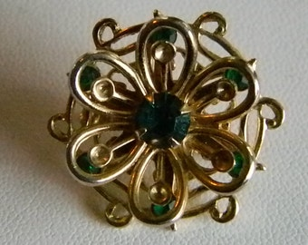 Small Gold Tone Round Green Crystal Flower Design Pin Brooch