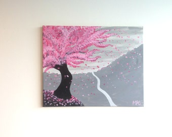 Cherry Blossom Tree Painting, Cherry Blossom Painting, Mountain Painting, Pink Cherry Blossoms, Nature Painting, Nature Art, Tree Painting