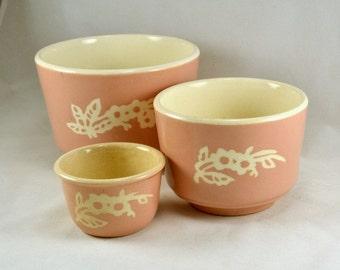 Nesting Bowls Harker Pottery Cameoware - Dainty Flowers Pink Zephyr - Harkerware Ramkin - Rare Vintage Kitchen