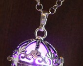Purple Ornate Glowing Orb Pendant Necklace Infinity Stones Locket Antique Silver Tone, Romantic Gift for Her, Fairy glow Jewelry