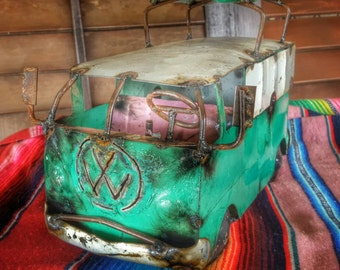 Rustic Metal Art Volkswagen Bus with attached Surf boards Upcycled Metal