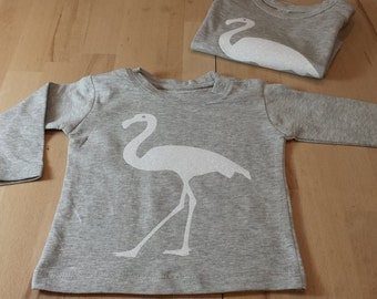 T-shirt long sleeves, round neck grey cotton with pink Flemish.