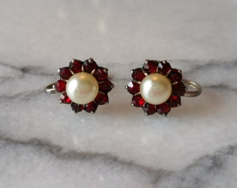 Vintage Sterling Silver Flowers with Ruby Red Stones and Pearl Screw Back Earrings