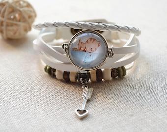 Cute Cat kissing fish Bracelet,Cupitor's arrow charm bracelet,braided leather bracelet,glass dome cabochon picture jewelry gift  (SL008)