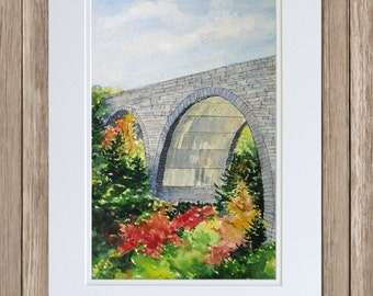 Duck Brook Bridge Painting - Acadia National Park Art - Maine Fall Foliage - Rockefeller's Carriage Roads -  Original Watercolor Paintings