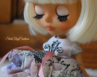 Paris Darling - Handmade OOAK Special Dress for Blythe & Similar Sized Dolls.