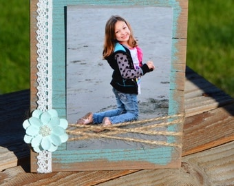 Rustic 5x4 wood frame, distressed twine picture frame, shabby chic frame