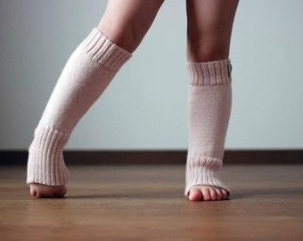 Alpaca wool knit leg warmers, cream rose, light pink knitted leg warmers for baby, infant, toddler, children, kid boot socks, yoga socks