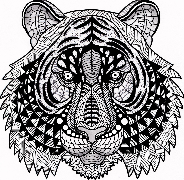 Tiger Zentangle Coloring Page Digital Coloring pdf Doodle