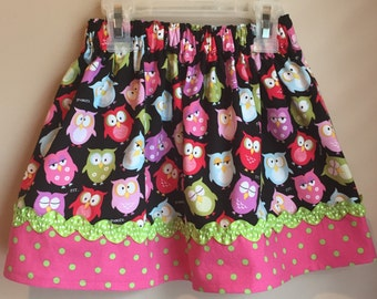 Owl Skirt With Ribbon Trim