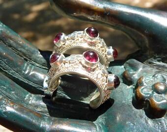 Garnet Sterling Silver Hoop Earrings, Ornate Earrings, HIGH GRADE Garnet Earrings, Handset Garnet, Sterling Silver Studs, Granulation
