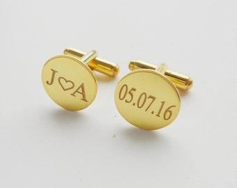 Custom Cufflinks for Groom,Gold Wedding Heart Cufflinks,Initials and Date Cufflinks,Engraved Cufflinks,Monogram Cuff Links,