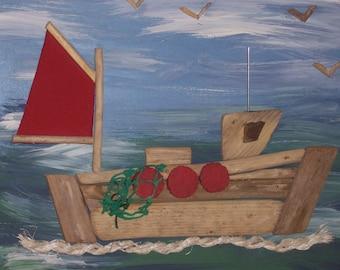 driftwood fishing boat wall art