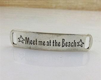 13x58mm antique silver letters charm pendants connectors Meet me at the Beach charm pendants MT0277
