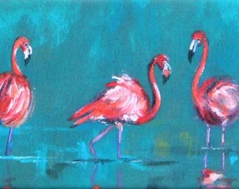 Flamingo Art Canvas Print.